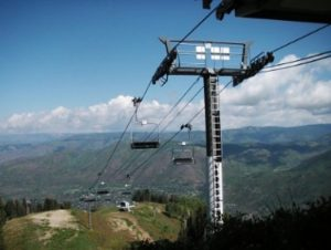 Pike small cell network node atop a ski lift in Aspen Colorado